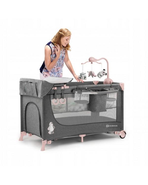 Ліжко-манеж з пеленатором Kinderkraft Joy Pink KKLJOYPNK000AC 5902533911264