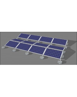 Cистема кріплень для монтажу 40 шт. сонячних панелей на Схід-Захід на плоский дах