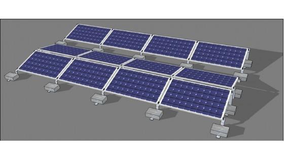Монтаж сонячних панелей у східно-західному напрямку з низьким кутом нахилу, близько 10 градусів
